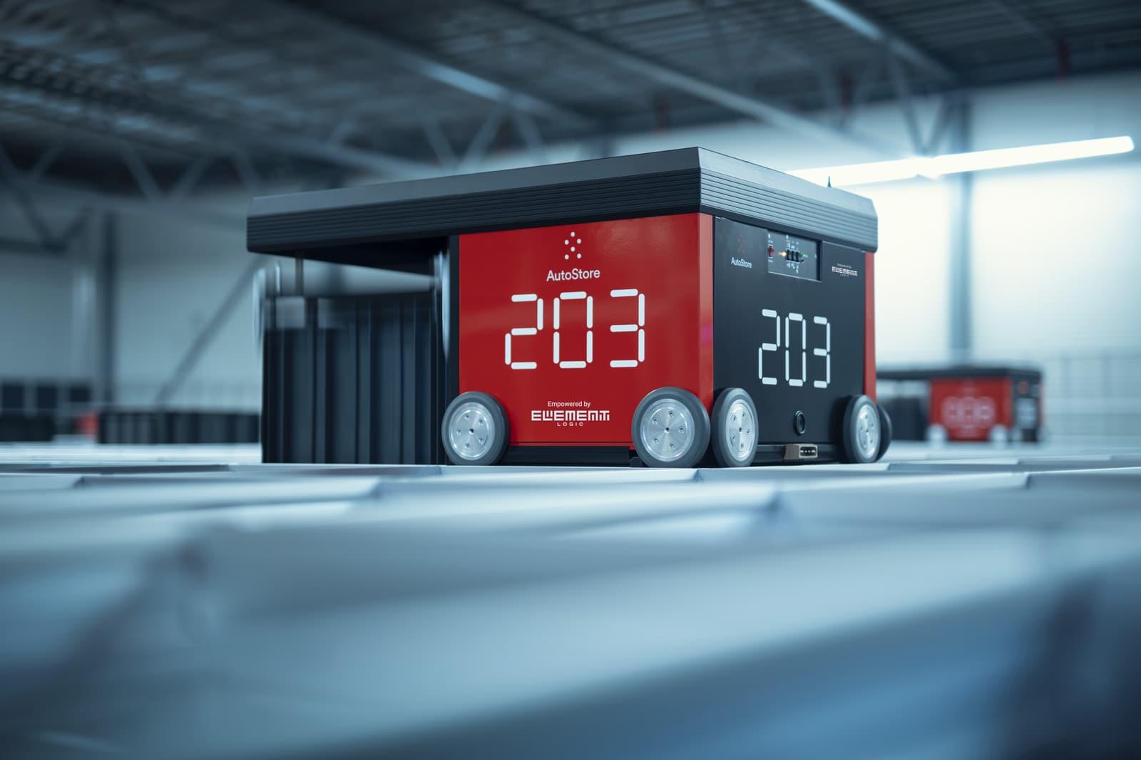 AutoStore red line robot på lageret til Prime Cargo