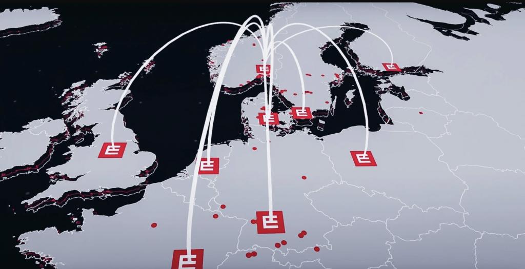 Et kart over europa med Element Logic logoen i alle land hvor de har kontor.